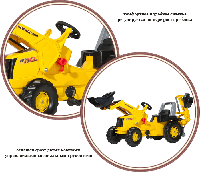 фото Трактор педальный Rich Toys RollyJunior New Holland Constr 813117(Рич Тойз РоллиДжуниор Нью Холланд)